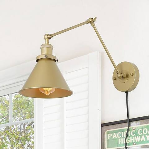 """Delacy 1-Light Brass Wall Lamp Adjustable Plug-in Wall Sconces Lighting - L21"""" xW7.3 """"xH8"""""""