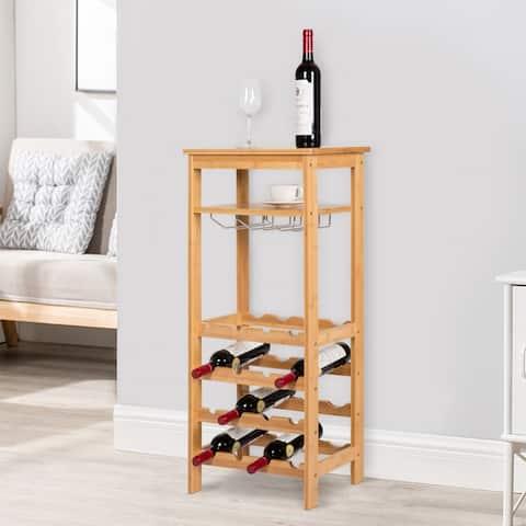 Kinbor Wine Rack 4-Tire Free Standing Glass Holder Storage Display Shelf with Hanger