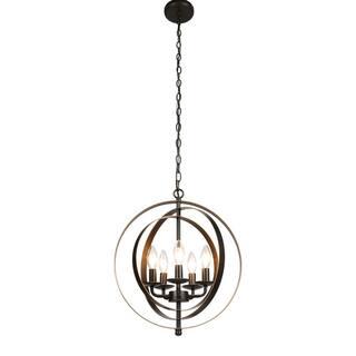 CO-Z Industrial 5-Light Metal Bronze Globe Chandelier