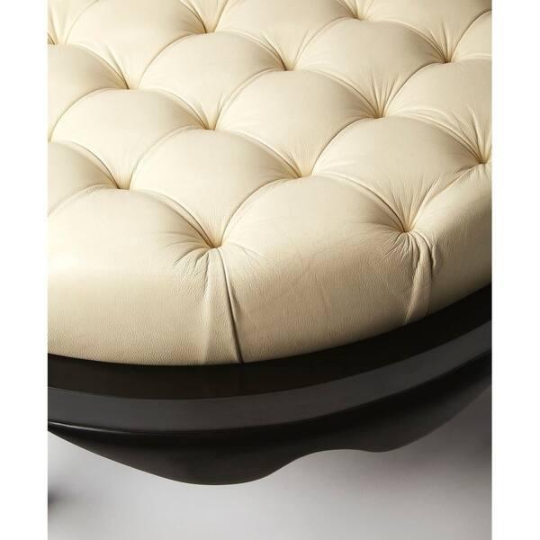 Phenomenal Shop Offex Transitional White Leather Round Cocktail Ottoman Spiritservingveterans Wood Chair Design Ideas Spiritservingveteransorg