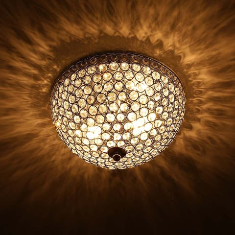 CO-Z 2-Light Crystal Flush Mount Ceiling Light Fixture