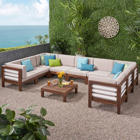 Oana Outdoor 9 Seater Acacia Wood Sectional Sofa Set by Christopher Knight Home
