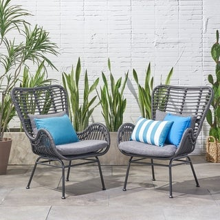 Montana Outdoor Wicker Club Chairs with Cushions (Set of 2) by Christopher Knight Home