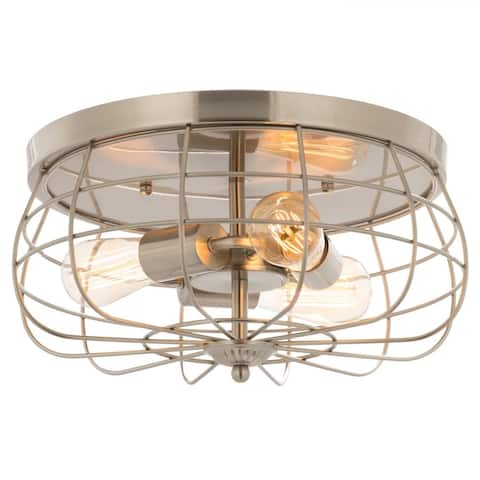 CO-Z 15-Inch Industrial 3-Light Metal Cage Flush Mount Ceiling Light