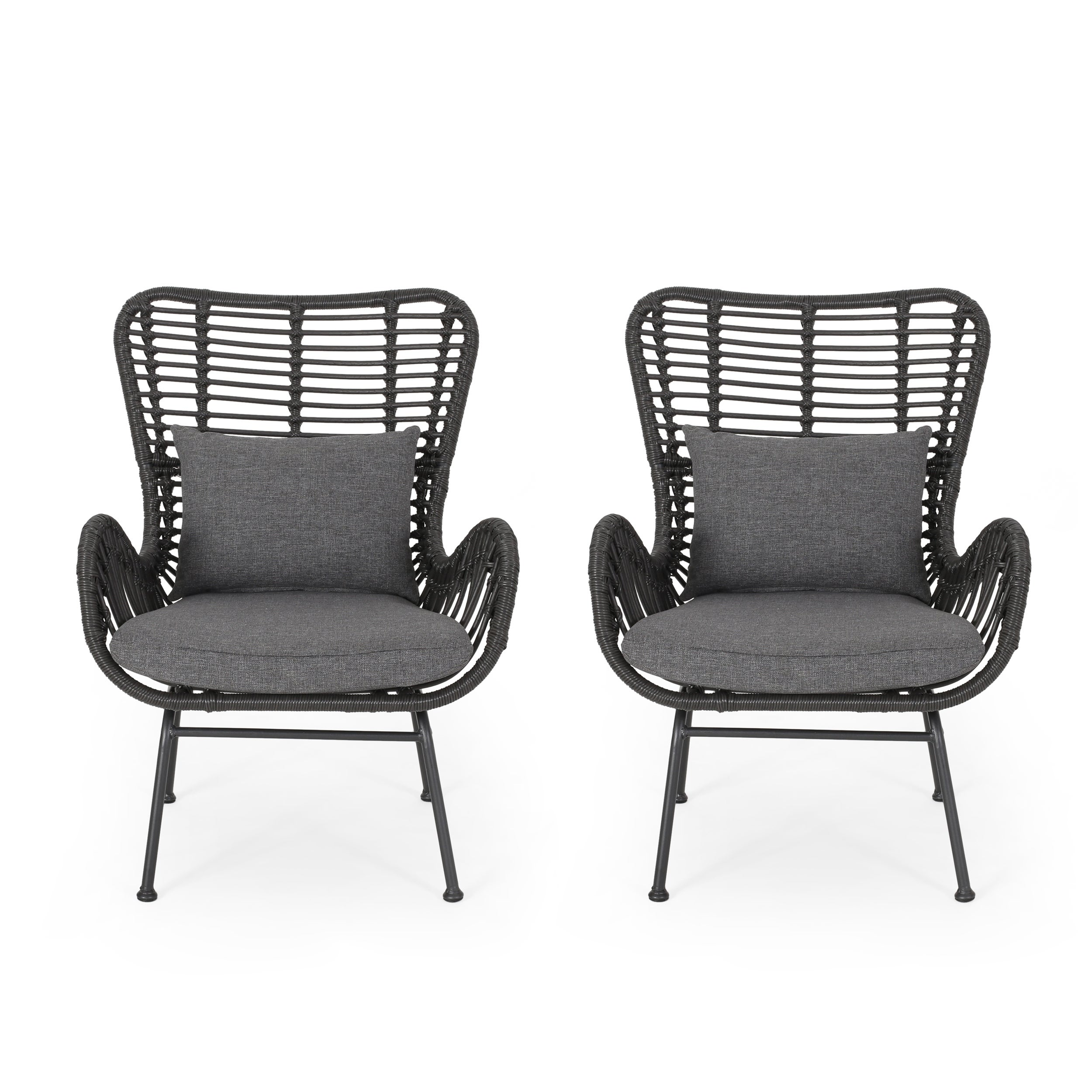 Montana Indoor Wicker Club Chairs With Cushions Set Of 2 By Christopher Knight Home