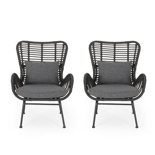Montana Indoor Wicker Club Chairs with Cushions (Set of 2) by Christopher Knight Home