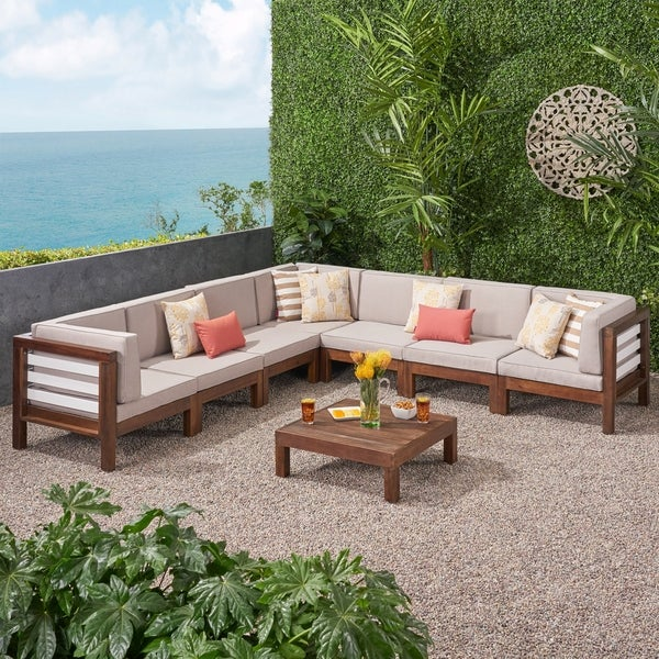 Oana Outdoor 7 Seater Acacia Wood Sectional Sofa Set by ...