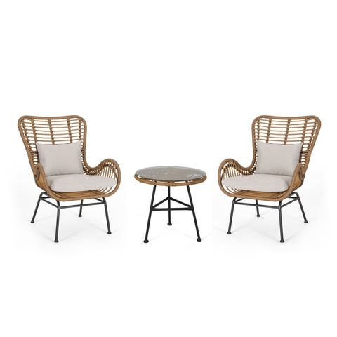 Acuna Outdoor 3 Piece Wicker Chat Set with Cushions by Christopher Knight Home
