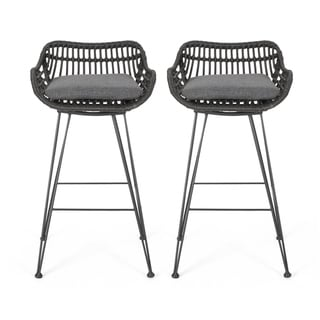 Dale Outdoor Wicker Barstools with Cushions (Set of 2) by Christopher Knight Home