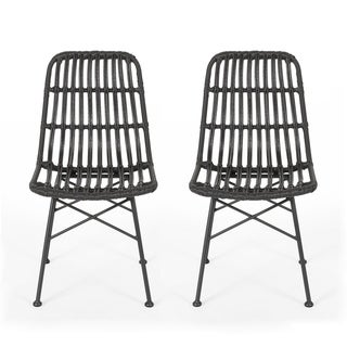 Sawtelle Outdoor Wicker Dining Chairs (Set of 2) by Christopher Knight Home