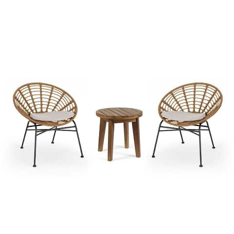 Julian Outdoor 2 Seater Acacia Wood Chat Set by Christopher Knight Home