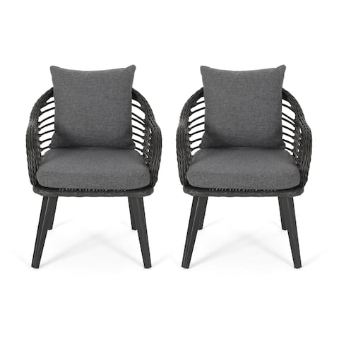 Tatiana Outdoor Wicker Club Chairs with Cushions (Set of 2) by Christopher Knight Home