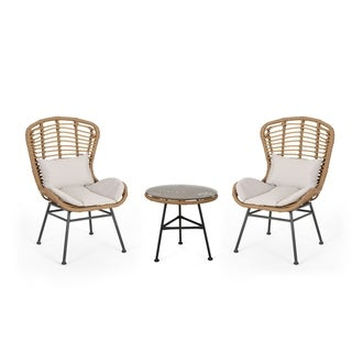 La Habra Outdoor Modern Boho 2 Seater Wicker Chat Set with Side Table by Christopher Knight Home