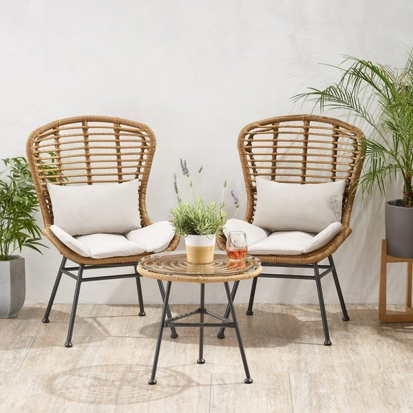 La Habra Boho 3-piece Wicker Patio Chat Set by Christopher Knight Home. Opens flyout.