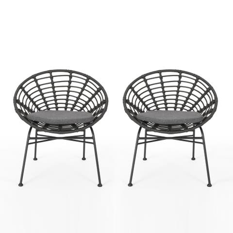 Jefferson Outdoor Wicker Dining Chairs with Cushions (Set of 2) by Christopher Knight Home
