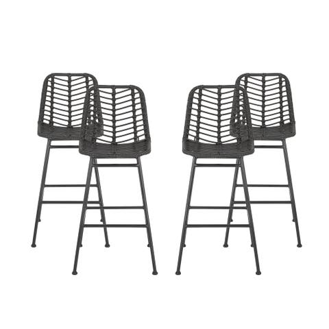 Sawtelle Outdoor Wicker Barstools (Set of 4) by Christopher Knight Home