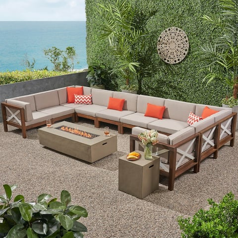 Brava Outdoor 12 Piece Acacia Wood Sectional Sofa Set and Water-Resistant Cushions with Fire Pit by Christopher Knight Home