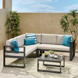 Link to Dursley Outdoor Aluminum Sectional Sofa with Coffee Table by Christopher Knight Home Similar Items in Outdoor Sofas, Chairs & Sectionals