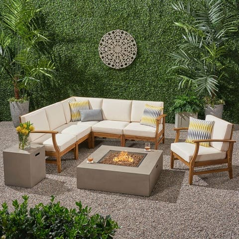 Illona Outdoor 6 Seater Acacia Wood Sofa Set with Square Fire Table and Tank by Christopher Knight Home