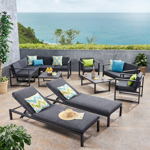 Navan Outdoor 9 Seater Aluminum Sectional Sofa Set with Mesh Chaise Lounges by Christopher Knight Home