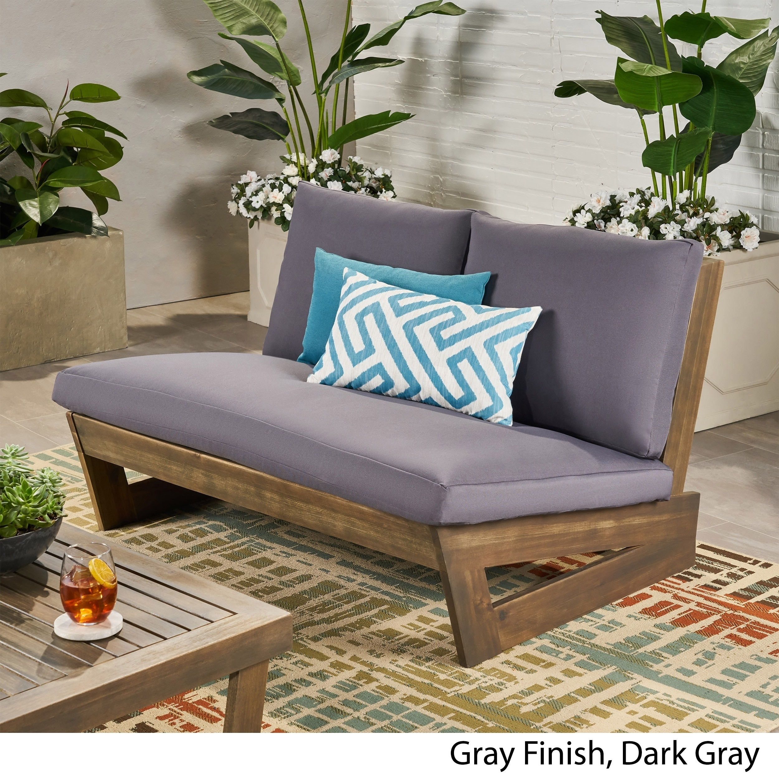 Grey 2 Seater Bench Seat Cushion Waterproof Fabric Outdoor Garden Pad Tufted