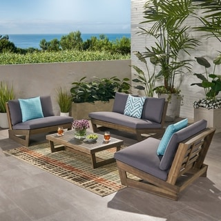Sherwood Outdoor 4 Seater Acacia Wood Chat Set with Coffee Table by Christopher Knight Home