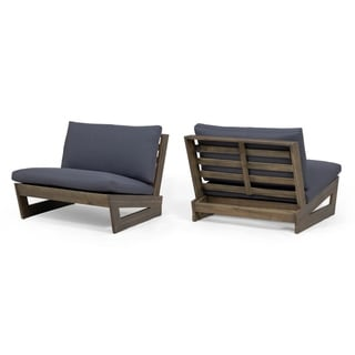 Sherwood Outdoor Acacia Wood Club Chairs with Cushions (Set of 2) by Christopher Knight Home
