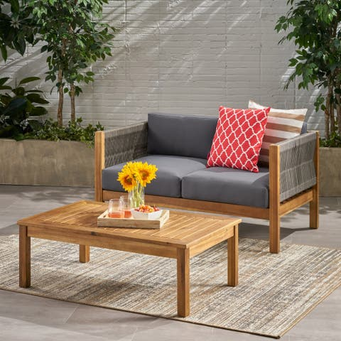 Laurel Modern Outdoor Acacia Wood Loveseat Set by Christopher Knight Home