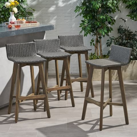 La Brea Outdoor Acacia Wood and Wicker Barstools (Set of 4) by Christopher Knight Home