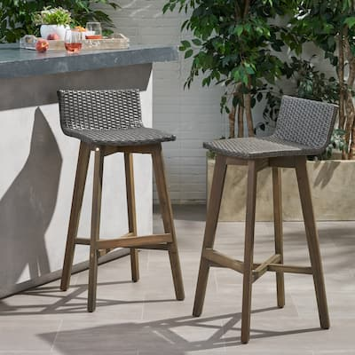 La Brea Outdoor Acacia Wood and Wicker Barstools (Set of 2) by Christopher Knight Home