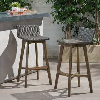Link to La Brea Outdoor Acacia Wood and Wicker Barstools (Set of 2) by Christopher Knight Home Similar Items in Patio Furniture
