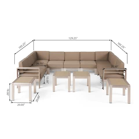 Cape Coral Outdoor 9 Seater Aluminum Sectional Sofa Set with Side Tables by Christopher Knight Home