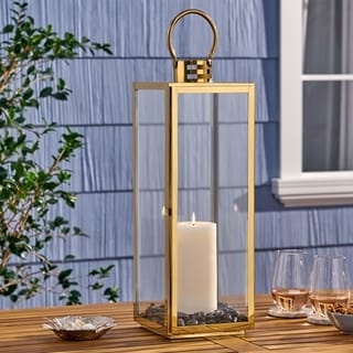 """Poconos Modern Outdoor 24"""" Stainless Steel Lantern by Christopher Knight Home"""