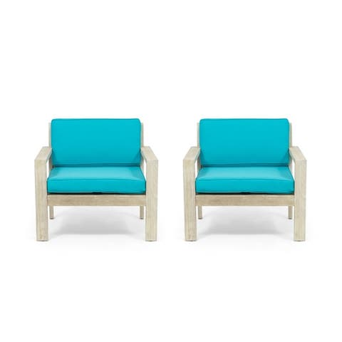 Santa Ana Outdoor Acacia Wood Club Chairs with Cushions (Set of 2) by Christopher Knight Home