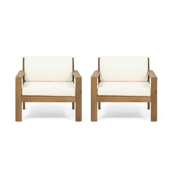 Santa Ana Outdoor Acacia Wood Club Chairs With Cushions (Set Of 2) By  Christopher