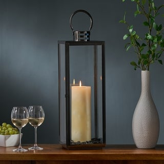 "Hawkeye Modern 24"" Stainless Steel Lantern by Christopher Knight Home"