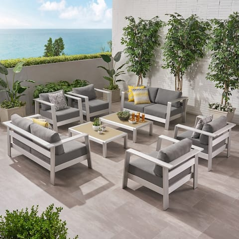 Bayport Outdoor 6 Seater Aluminum Club Chair Set with Coffee Table and Loveseat by Christopher Knight Home