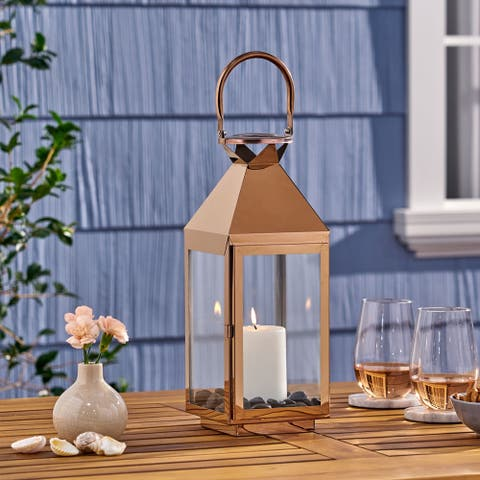 Tulsa Modern Outdoor Stainless Steel Lantern by Christopher Knight Home