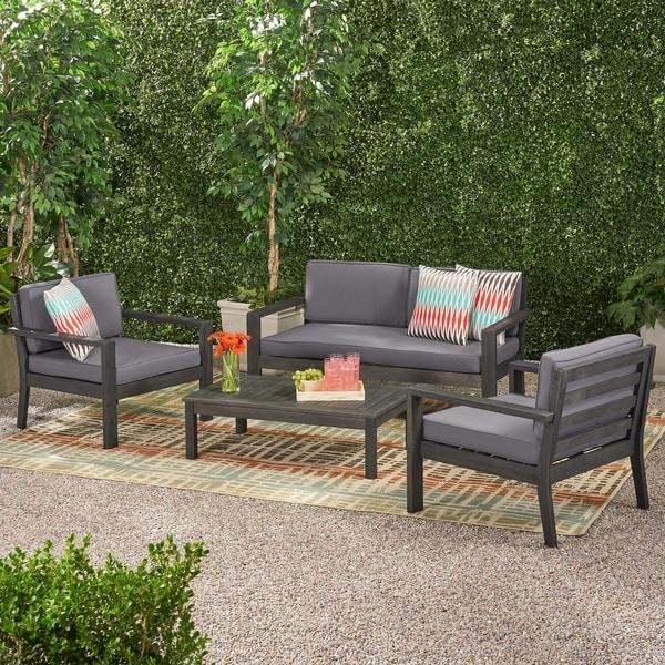Patio Furniture Santa Ana Ca: Shop Santa Ana Outdoor 4 Seater Acacia Wood Chat Set With