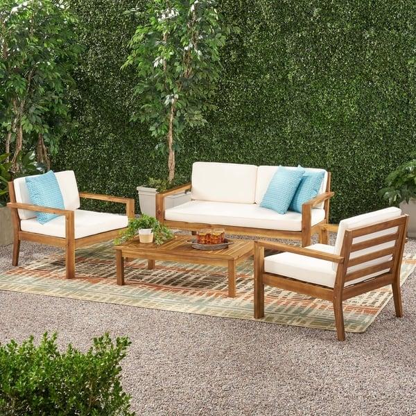 Santa Ana Outdoor 4 Seater Acacia Wood