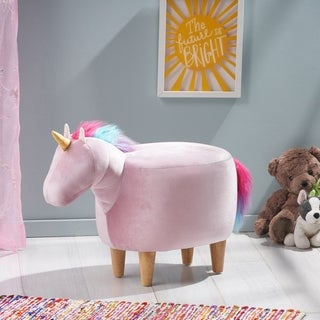 Link to Emilia Velvet Unicorn Ottoman by Christopher Knight Home Similar Items in Kids' Ottomans & Gliders