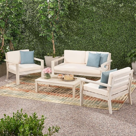 Santa Ana Outdoor 4 Seater Acacia Wood Chat Set with Cushions by Christopher Knight Home