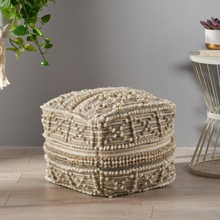 Bonita Boho Cube Wool and Cotton Pouf by Christopher Knight Home