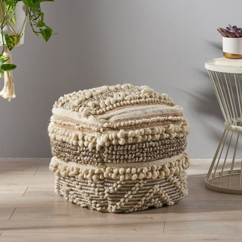 Gerardo Boho Cube Wool and Cotton Pouf by Christopher Knight Home