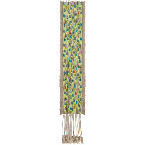 """Moe Hand-Embroidered Tassel Tapestry - 5"""" x 36"""""""