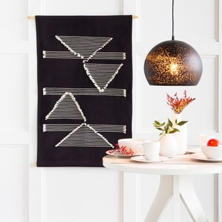 """Xavier Hand-Embroidered Geometric 23"""" x 36"""" Tapestry - 24"""" x 36"""""""