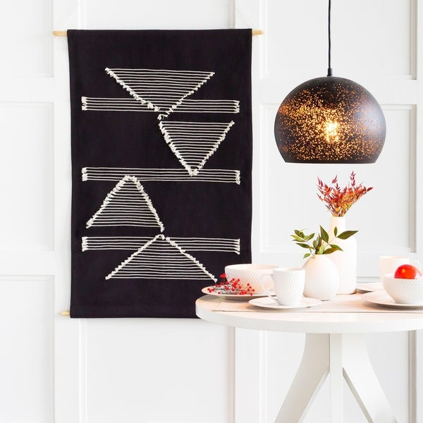 "Xavier Hand-Embroidered Geometric 23"" x 36"" Tapestry - 24"" x 36"""