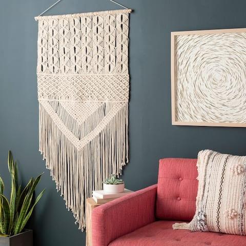 Cristina Bohemian Fringed Macrame Wall Tapestry