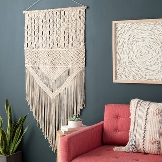 Cristina Bohemian Fringed Macrame Wall Tapestry