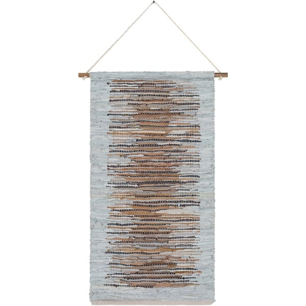 "The Curated Nomad Woven Leather Tapestry - 22"" x 44"""